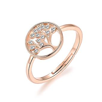 Rose gold tree of life ring created with swarovski® crystals
