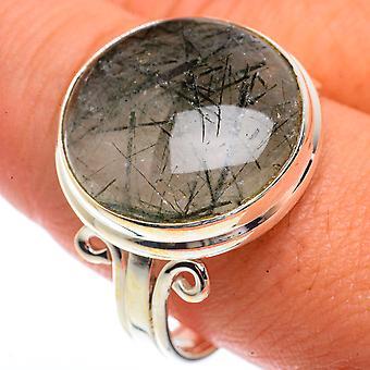 Tourmalinated Quartz Ring Size 11.5 (925 Sterling Silver)  - Handmade Boho Vintage Jewelry RING66365