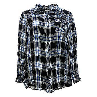 Tolani Collection Women's Petite Top Plaid Tunic w/Print Back Blue A383446