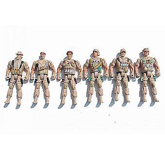 6pcs Soldati militari della guerra mondiale impostare le figure d'azione dell'esercito Playset 11cm Giallo