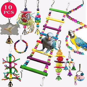 Pet Parrot Hanging Toy Chewing Bite Rattan Balls Swing Bell Training Toys Pet Supplies  Juguetes para pájaros