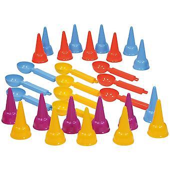 5501 Happy Sand Kiga Set Eiswaffel und Eislöffel, 30 Teile, Mehrfarbig