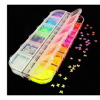 12 Grids spangles nail sequins aurora ab nail flakes stunning pailliette heart butterfly spring sticker nart tips decoration