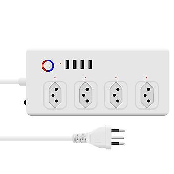 Wifi smart power strip brazil plug smart power bar multiple outlet extension cord with 4 usb and 4 ac plugs by tuya