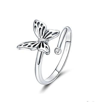 Silver plating Vintage Butterfly Adjustable Finger Rings for Women Wedding Engagement Ring Jewelry