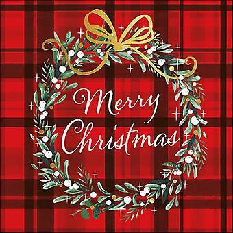 Ambiente 3 Ply paperi lautasliinat, joulu ruudullinen punainen
