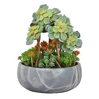 Plutus Brands Faux Succulent Pot in Green Terracotta