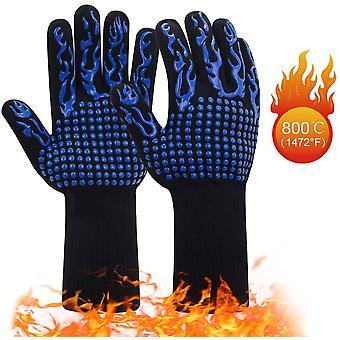 Bbq rukavice, teplé rukavice, zimní rukavice, zahradnické rukavice, venkovní rukavice, vysoká teplota, opařené a zpomalující hoření bavlněné rukavice, modrá