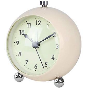 Relojes de alarma de mesa, reloj despertador pequeño que funciona con baterías, reloj de escritorio sin tictac con retroiluminación (blanco)