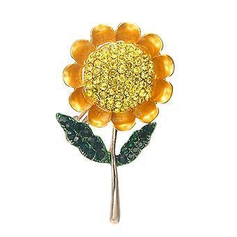 Gele emaille bloem strass broches boeketten zonnebloem broche pin