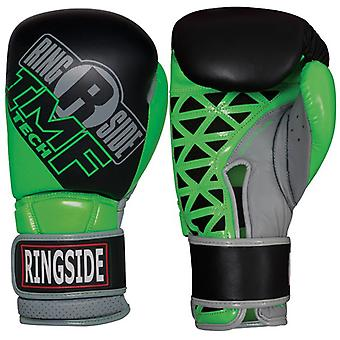 Ringside Youth IMF Tech Hook and Loop Sparring Boxing Gloves - Black/Neon Green