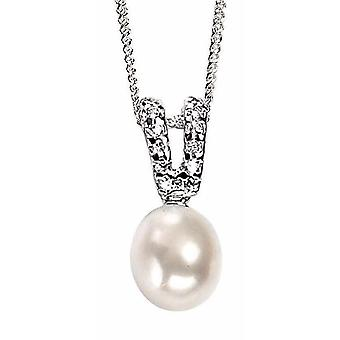 925 Silver Necklace Zirconium And Pearl Pendant Necklace