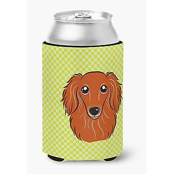 Checkerboard Lime Green Longhair Red Dachshund Can or Bottle Hugger