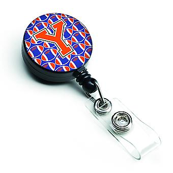 Letter Y Football Green, Blue and Orange Retractable Badge Reel