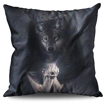 Wolf King Beast Animal Linen Cushion 30cm x 30cm | Wellcoda