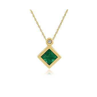 Classic Square Emerald & Diamond Bezel Set Pendant Necklace in 9ct Yellow Gold 135P1584019