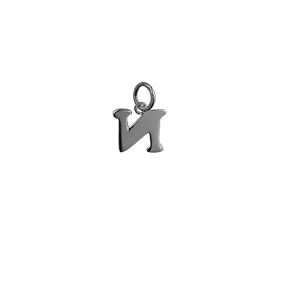 Silver 11x10mm plain Initial N Pendant or Charm