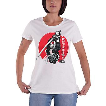 Suicide Squad T Shirt Katana Sword Pose Official Womens New White Skinny Fit