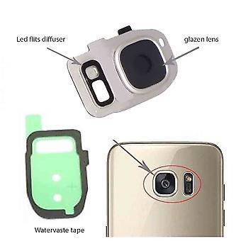 Samsung Galaxy S7/S7 bordo dietro copertura lente della macchina fotografica, lente in vetro e LED diffusore-argento-completo