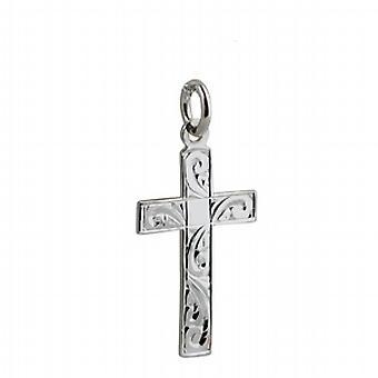 Silber 24x14mm hand gravierte flache lateinisches Kreuz