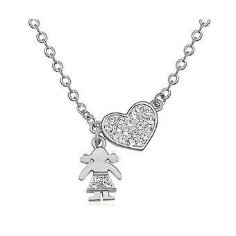 Kvinder sølv hjerte vedhæng halskæde med pige og hjerte vedhæng