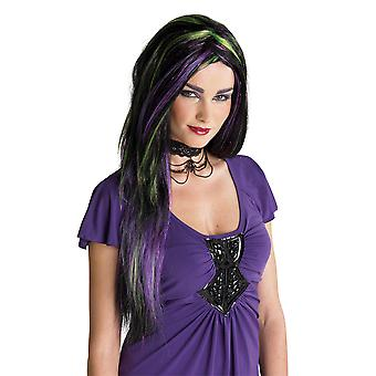Rebel Witch Black Purple Gypsy Voodoo Story Book Week Women Costume Wig