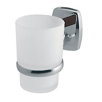 Enda härdat glas Toothmug tandborste Cup grepp modernt badrum kromade Zamak