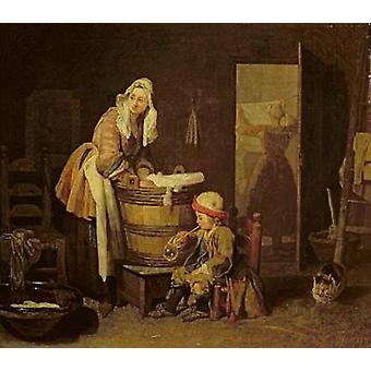 The Laundress by Jean-Baptiste Simeon Chardin - Art Print
