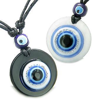Evil Eye Reflexion Paare Beste Freunde Schutz Amulette Medaillons Jade Onyx Anhänger Halsketten