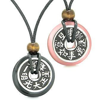 Amuletit suuri palautuva onni kolikot rakkautta parit Yin Yang musta akaatti vaaleanpunainen Cats Eye kaulakorut