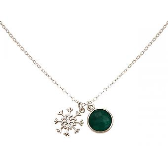 Gemshine kaula koru riipus SCHNEEFLOCKE 925 hopea smaragdinvihreä 1,3 cm