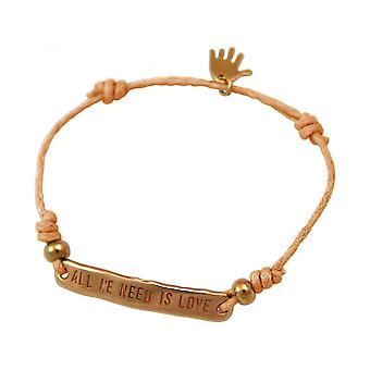 Women - bracelet - engraved - ALL WE NEED IS LOVE - rose gold plated - bright coral - rose