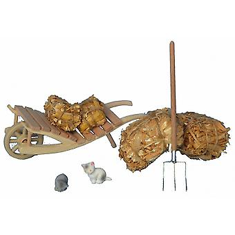 Wheelbarrow straw Hay fork crib Nativity stable Nativity accessories
