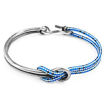Anchor & Crew Blue Dash Tay Silver and Rope Half Bangle