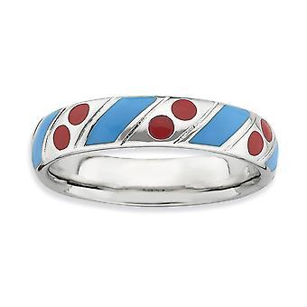 925 Sterling Silber blau Emaille Rhodium vergoldet stapelbare Ausdrücke poliert blau rot emailliert Ring Schmuck Geschenke für W