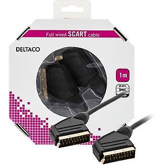 DELTACO SCART cablu, complet conectat, ha-ha, 1m, negru