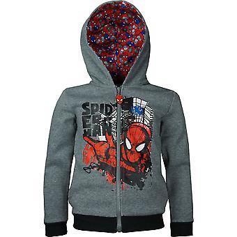 AHQ1430 chicos Marvel Spiderman completa cremallera con capucha Sudadera tamaño: 3-8 años