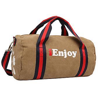 حقيبة عطلة نهاية الأسبوع البني الفاتح أو حقيبة التدريب في نسيج دائم
