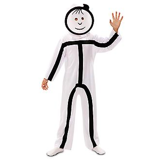 Stick figure child costume with 2 masks StickMan stroke man costume for kids