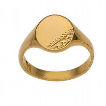 9ct Gold 8x6mm ladies engraved oval Signet Ring Size Q