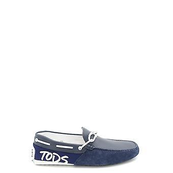 Tod's Ezbc025017 Men's Blue Suede Loafers