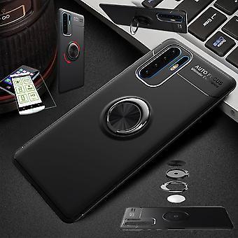 Für Samsung Galaxy A40 5.9 Zoll Ultra dünn Magnet Metall Ring Case Schwarz + Hartglas Tasche Hülle Cover Hülle