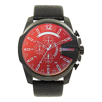 Diesel Watches Dz4323 Mega Chief Blue & Red Dial Black Leather Chronograph Men's Watch