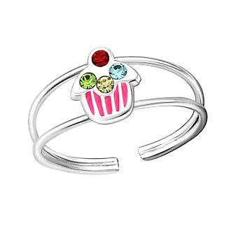 Children's Sterling Silver Cupcake Adjustable Ring