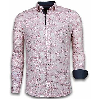 E Shirts - Slim Fit - Allover Flower Pattern - Red