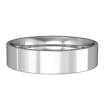 Jewelco London Palladium 5mm Flat-Court Polished Wedding Band Commitment Ring