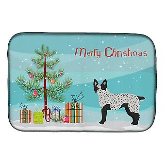 Carolines Treasures  CK3877DDM Texas Heeler Christmas Tree Dish Drying Mat
