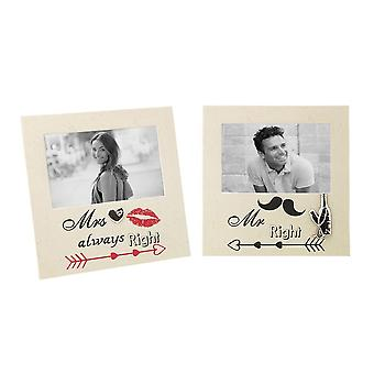 Beautifully Designed and Novelty Mr Right & Mrs Always Right Picture Frame Set