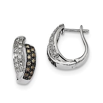 925 Sterling Silver Gift Boxed Hinged hoop Rhodium plated Champagne Diamond Leverback Hoop Earrings Jewelry Gifts for Wo