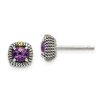 925 Sterling Silver With 14k Square Cushion Amethyst Post Earrings Jewelry Gifts for Women - .33 cwt